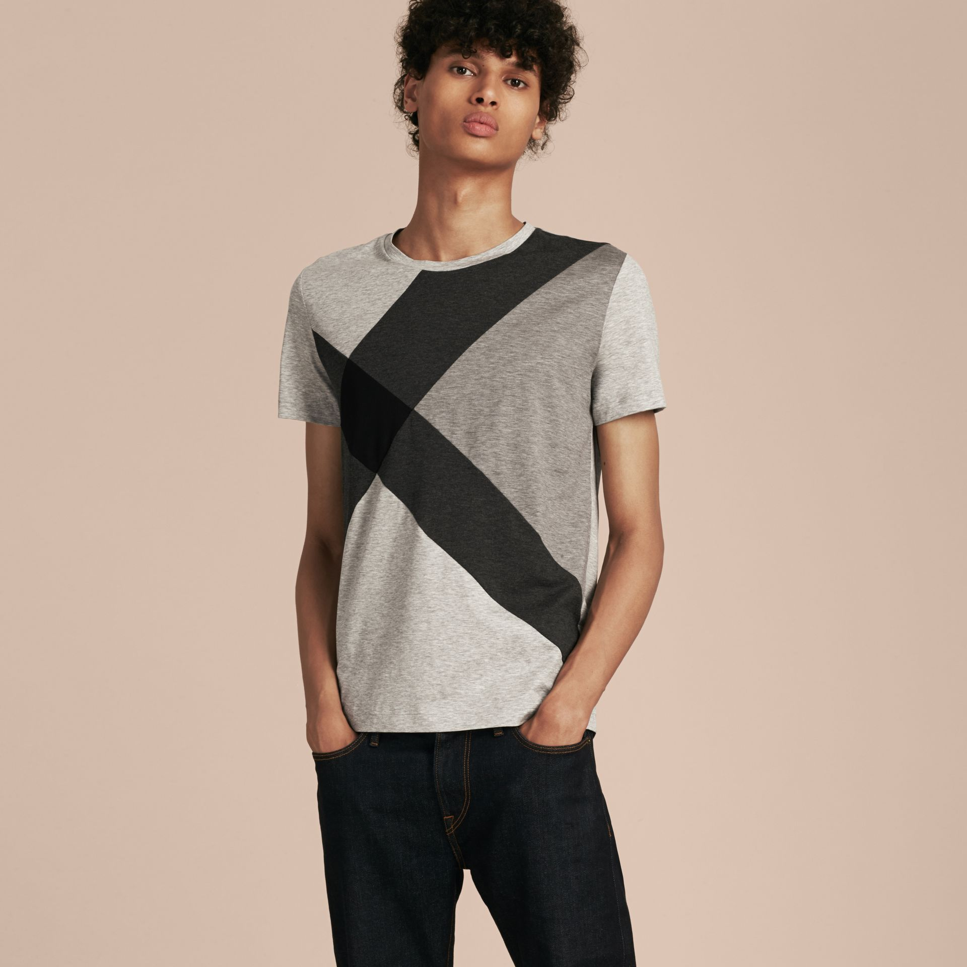 Light grey melange Exploded Check Cotton T-shirt - gallery image 6