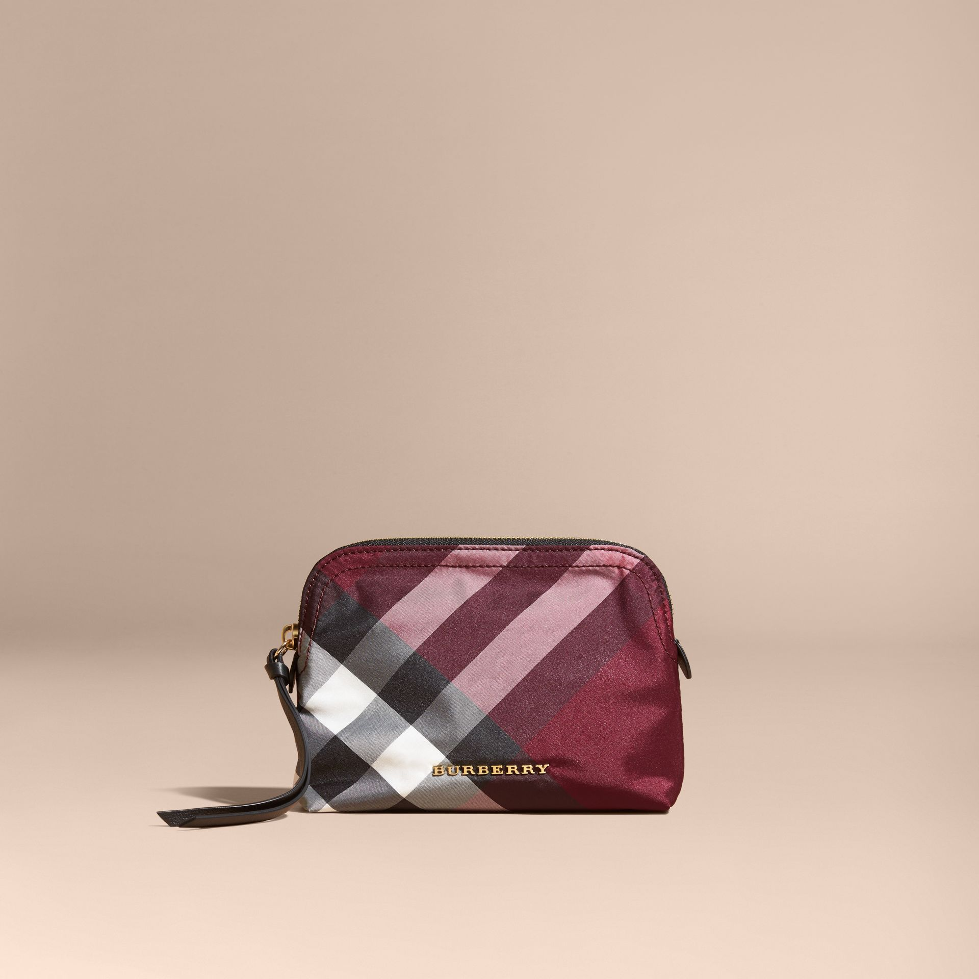 Medium Zip-top Check Technical Pouch in Plum - Women | Burberry Canada - gallery image 6