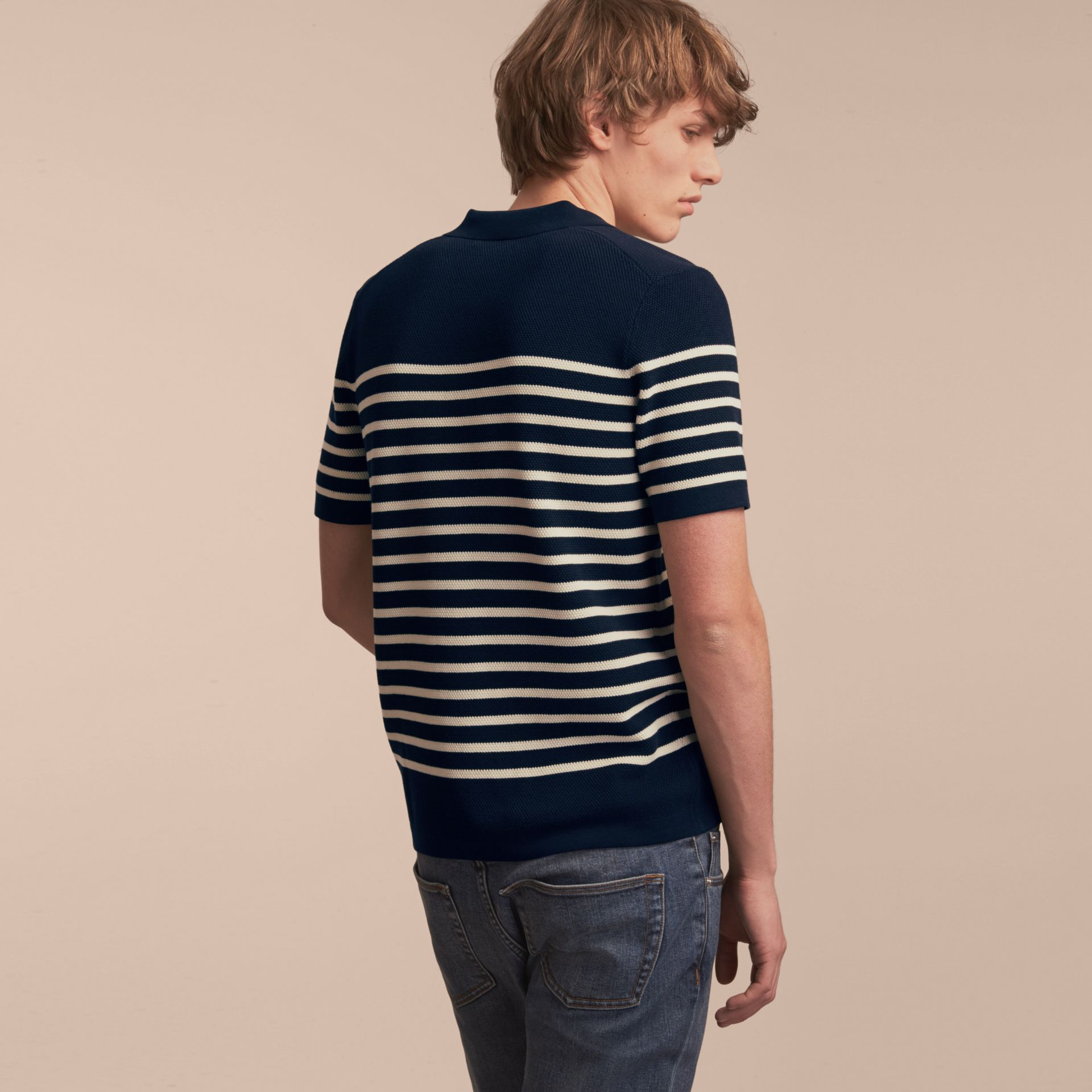 Striped Knitted Cotton Polo Shirt in Navy - Men | Burberry Australia - gallery image 3