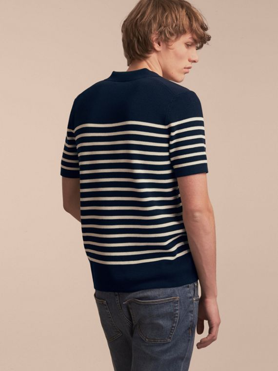 Striped Knitted Cotton Polo Shirt in Navy - Men | Burberry Australia - cell image 2