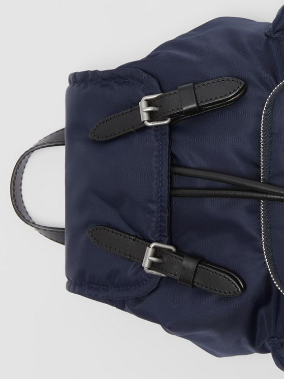 The Small Crossbody Rucksack in Puffer Nylon in Ink Blue - Women | Burberry - cell image 1