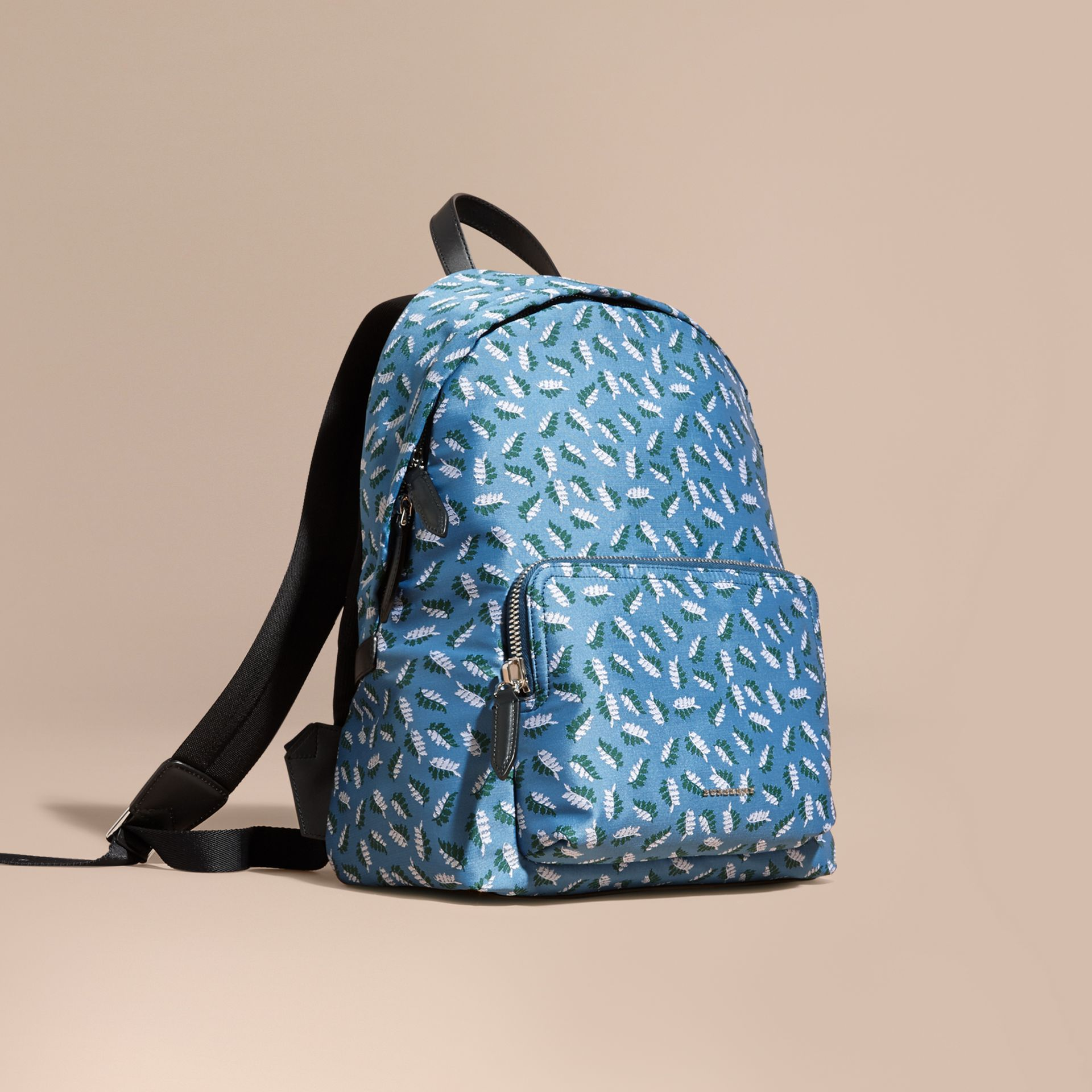 Deep cerulean blue leaf Leaf Jacquard Backpack - gallery image 1