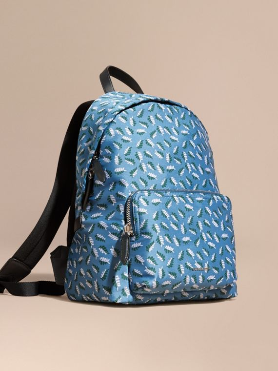 Leather Trim Leaf Jacquard Backpack