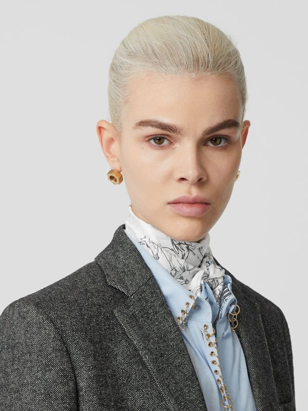 Unicorn Sketch and Antique Print Silk Skinny Scarf in Pale Blue | Burberry United States - cell image 2