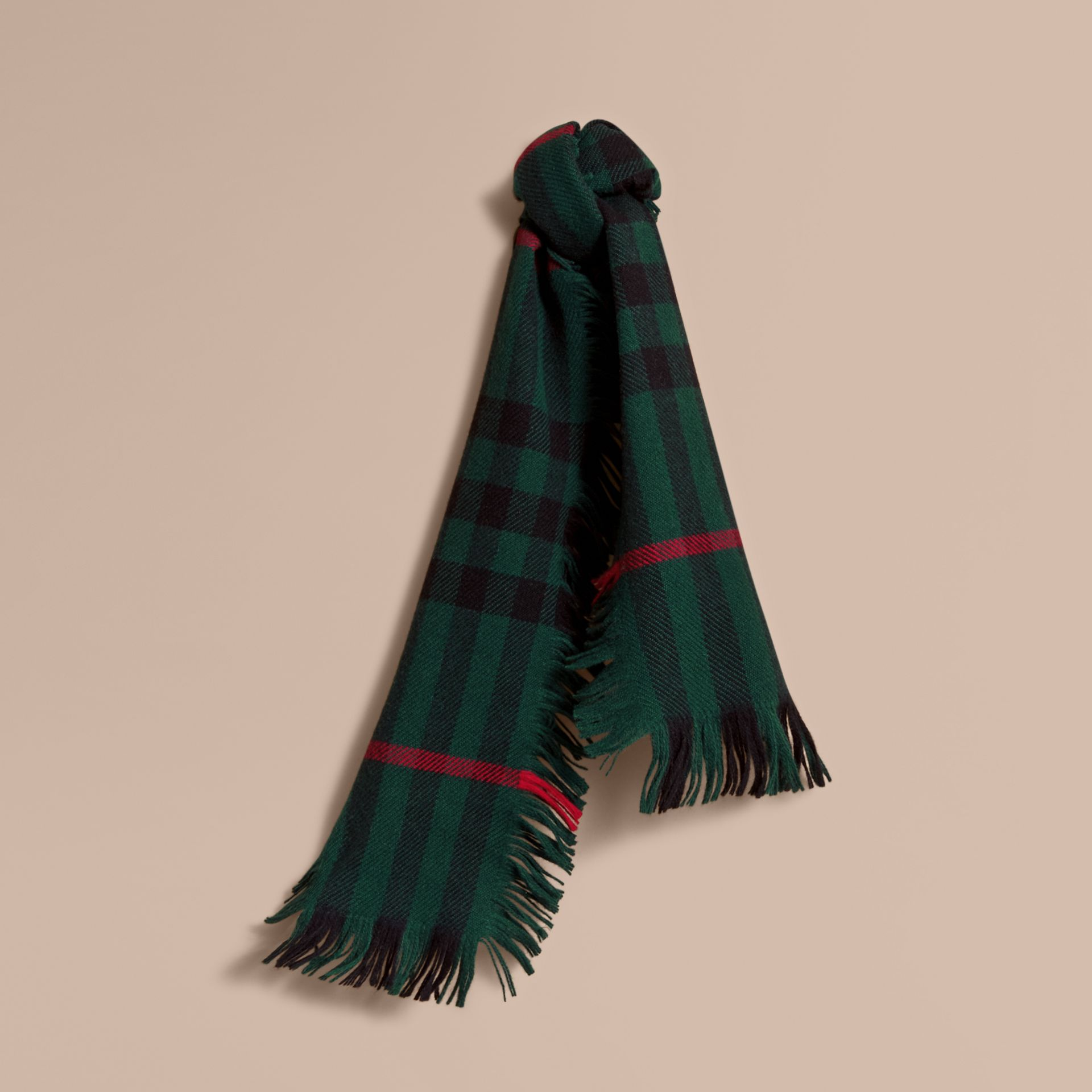 Fringed Check Wool Mini Scarf in Jade Green | Burberry - gallery image 0