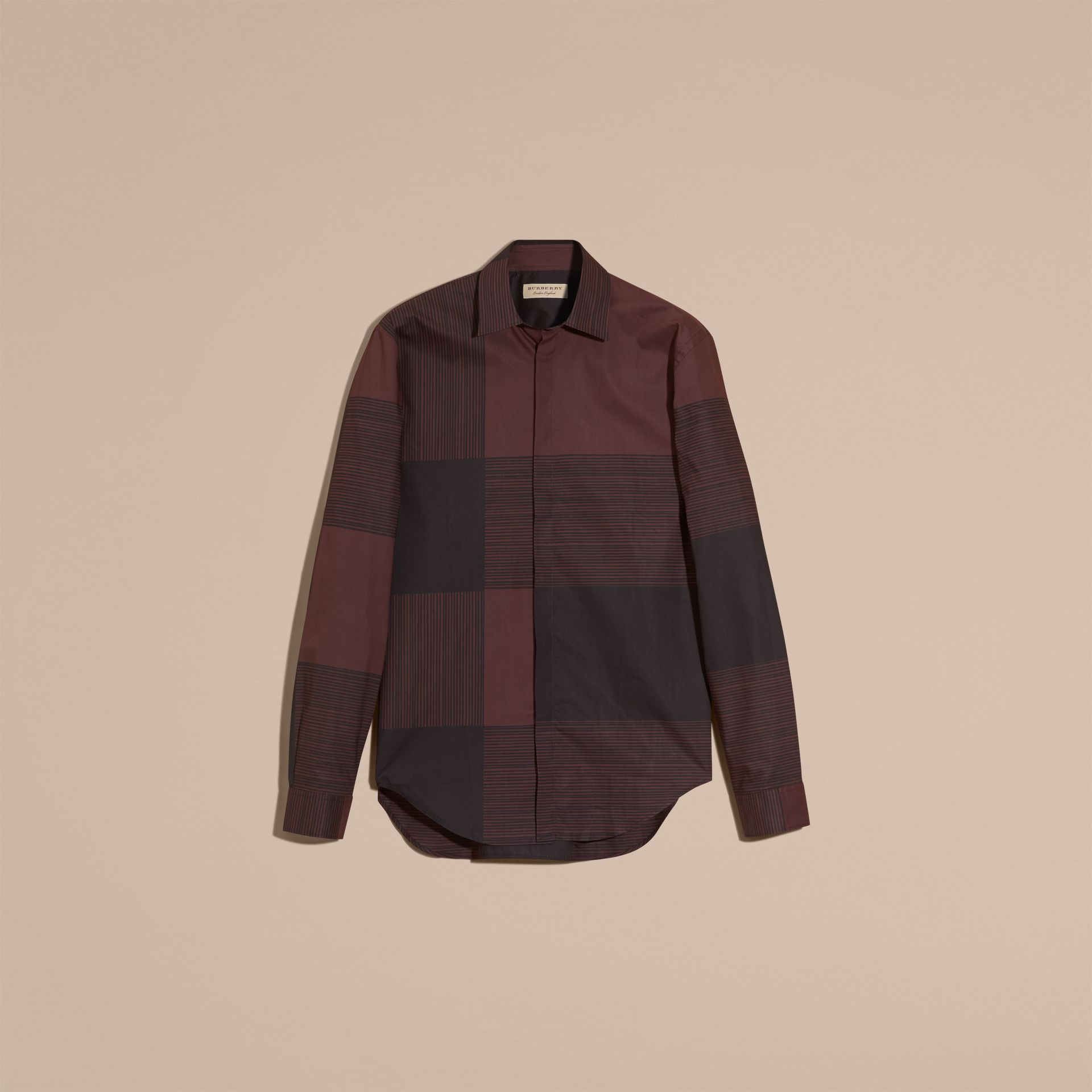 Burgundy Check Cotton Shirt Burgundy - gallery image 4