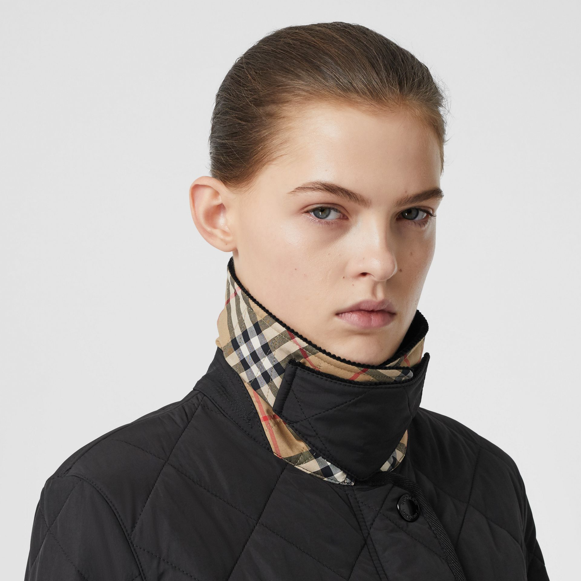 Diamond Quilted Thermoregulated Barn Jacket in Black - Women | Burberry United Kingdom - gallery image 6