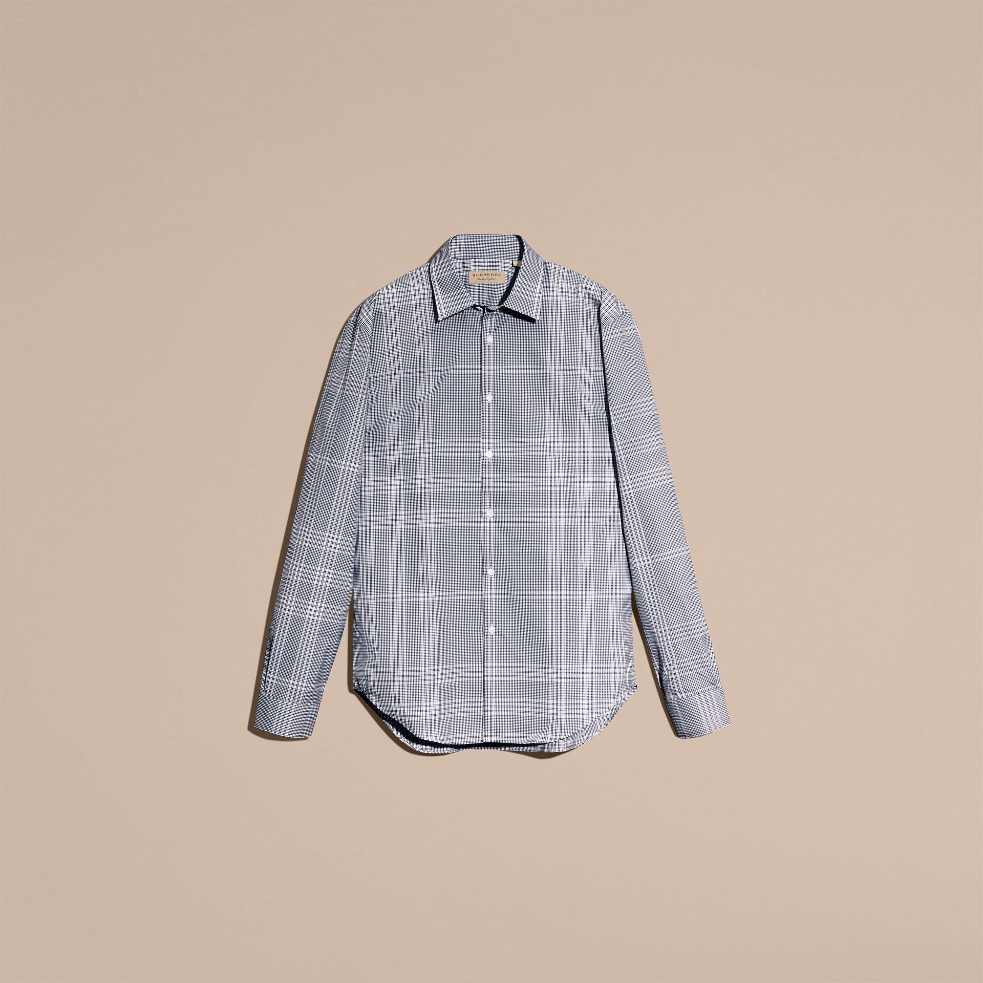 Azul marino intenso Camisa en algodón con estampado de checks Azul Marino Intenso - imagen de la galería 4