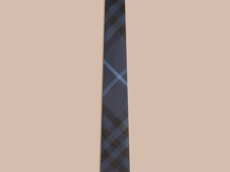 Navy Modern Cut Check Silk Tie Navy - cell image 2