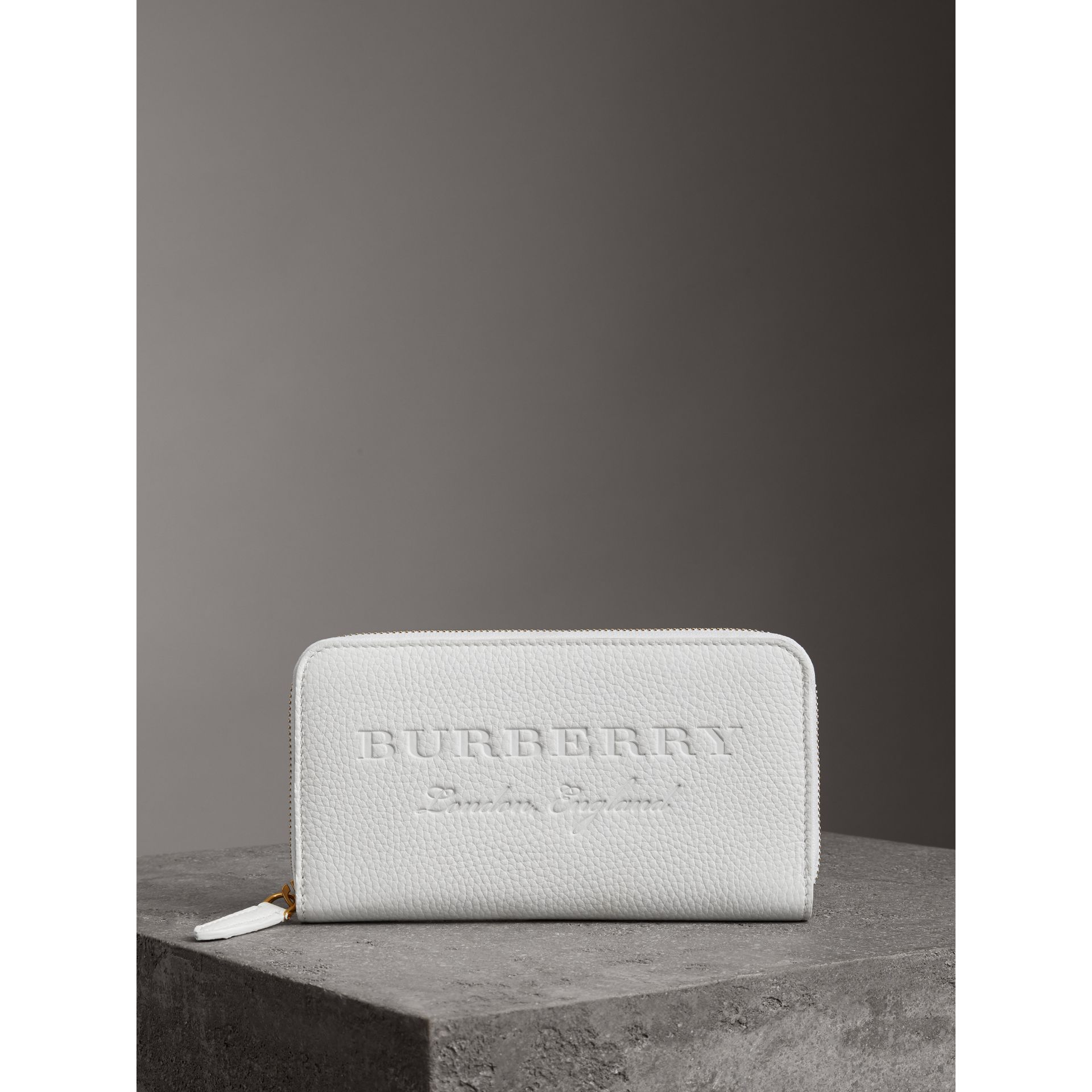 Embossed Leather Ziparound Wallet in Chalk White - Women | Burberry - gallery image 4
