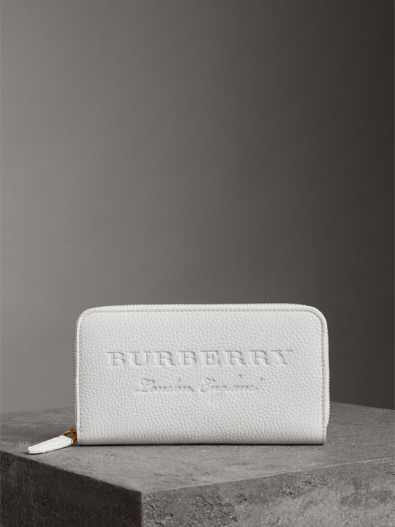 Embossed Leather Ziparound Wallet in Chalk White