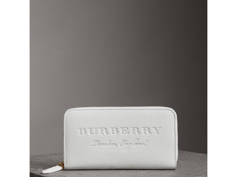 Embossed Leather Ziparound Wallet in Chalk White - Women | Burberry Canada - cell image 4
