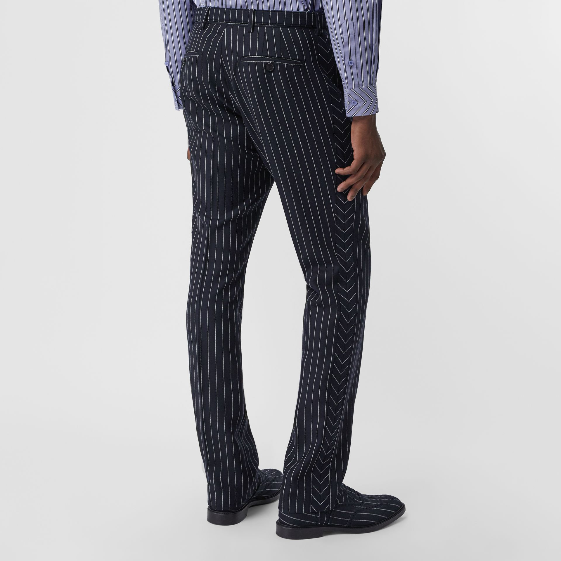 Classic Fit Pinstriped Wool Tailored Trousers in Dark Navy/white | Burberry - gallery image 2