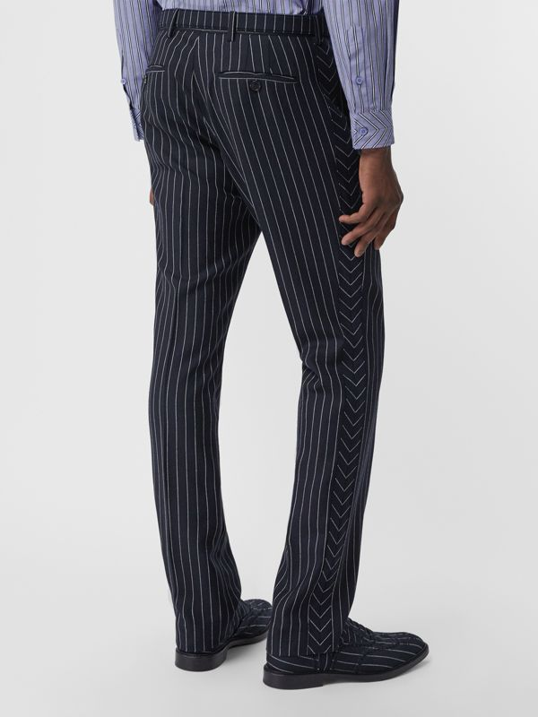 Classic Fit Pinstriped Wool Tailored Trousers in Dark Navy/white | Burberry - cell image 2