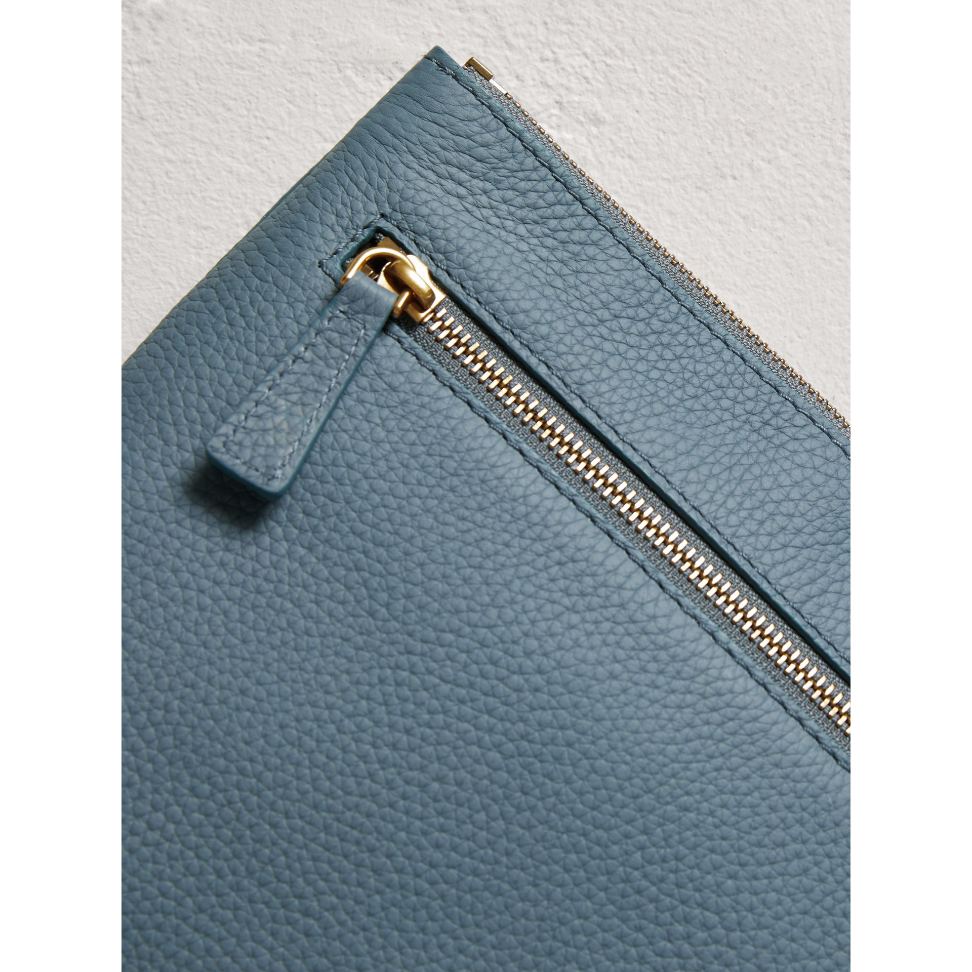 Large Embossed Leather Zip Pouch in Dusty Teal Blue | Burberry - gallery image 1