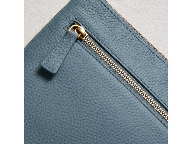 Large Embossed Leather Zip Pouch in Dusty Teal Blue | Burberry - cell image 1