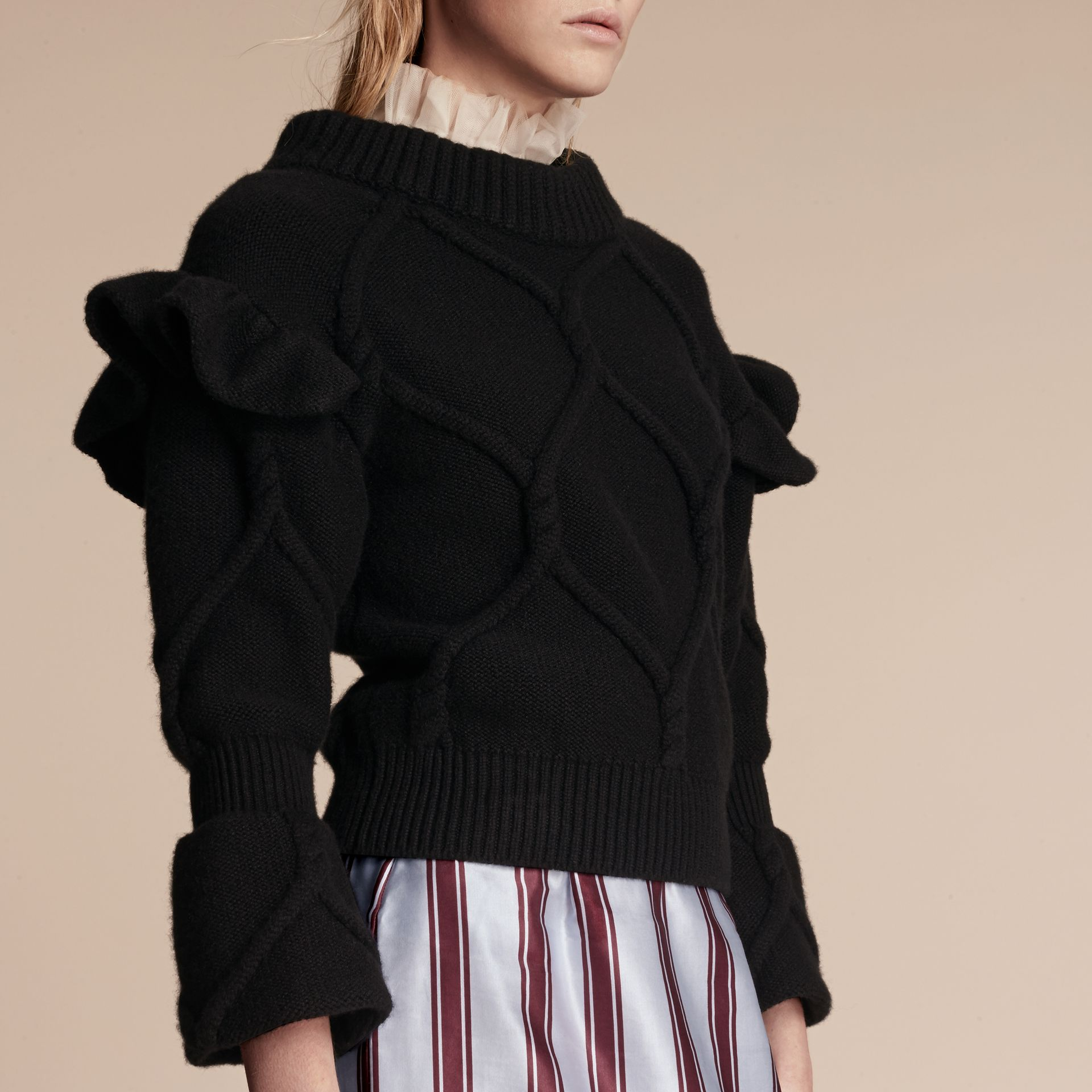 Cable Knit Wool Cashmere Sweater with Ruffle Bell Sleeves in Black - gallery image 5