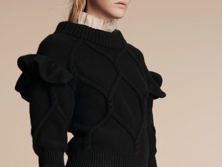 Cable Knit Wool Cashmere Sweater with Ruffle Bell Sleeves in Black - cell image 4