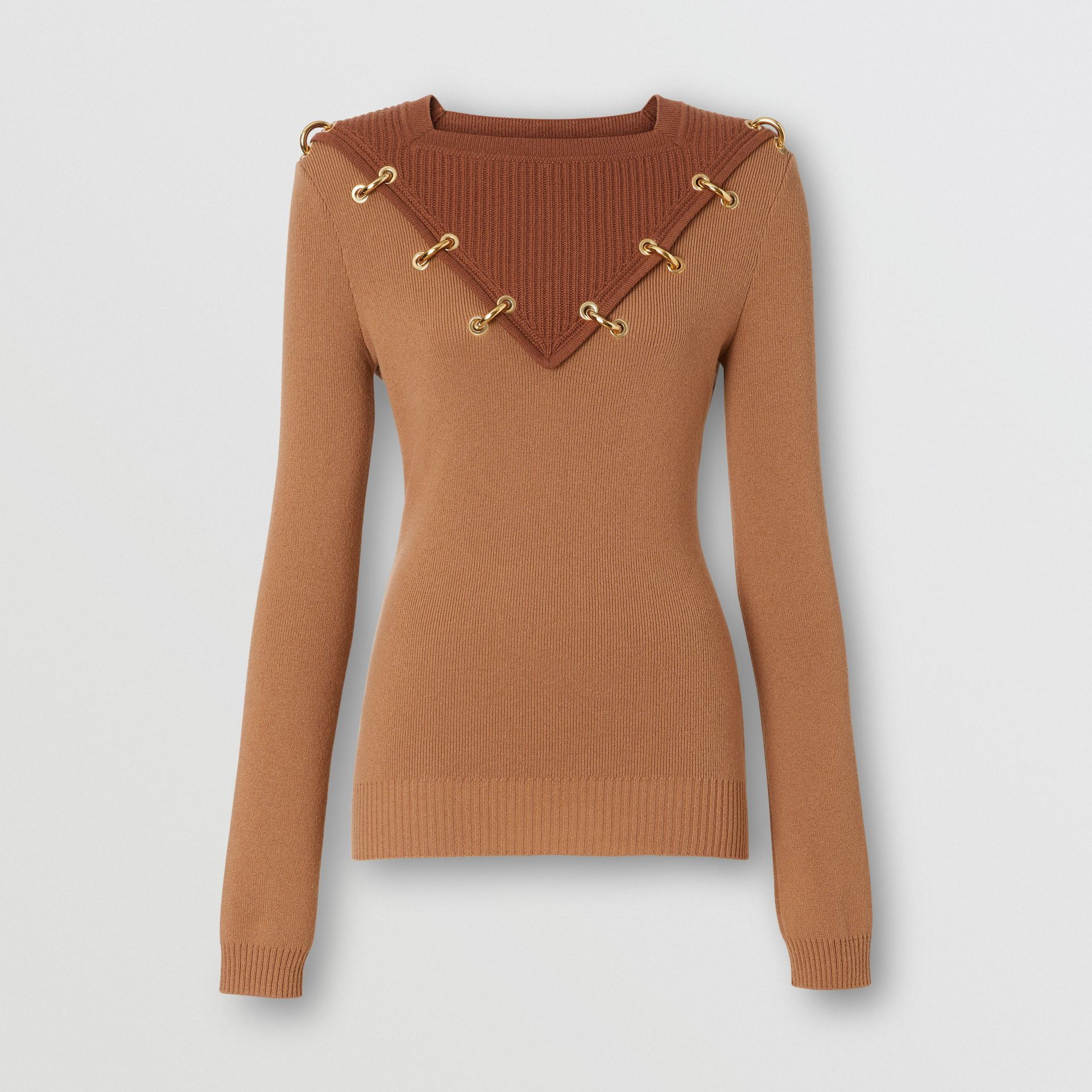 Ring-pierced Two-tone Wool Cashmere Sweater in Warm Camel - Women | Burberry United Kingdom - gallery image 3