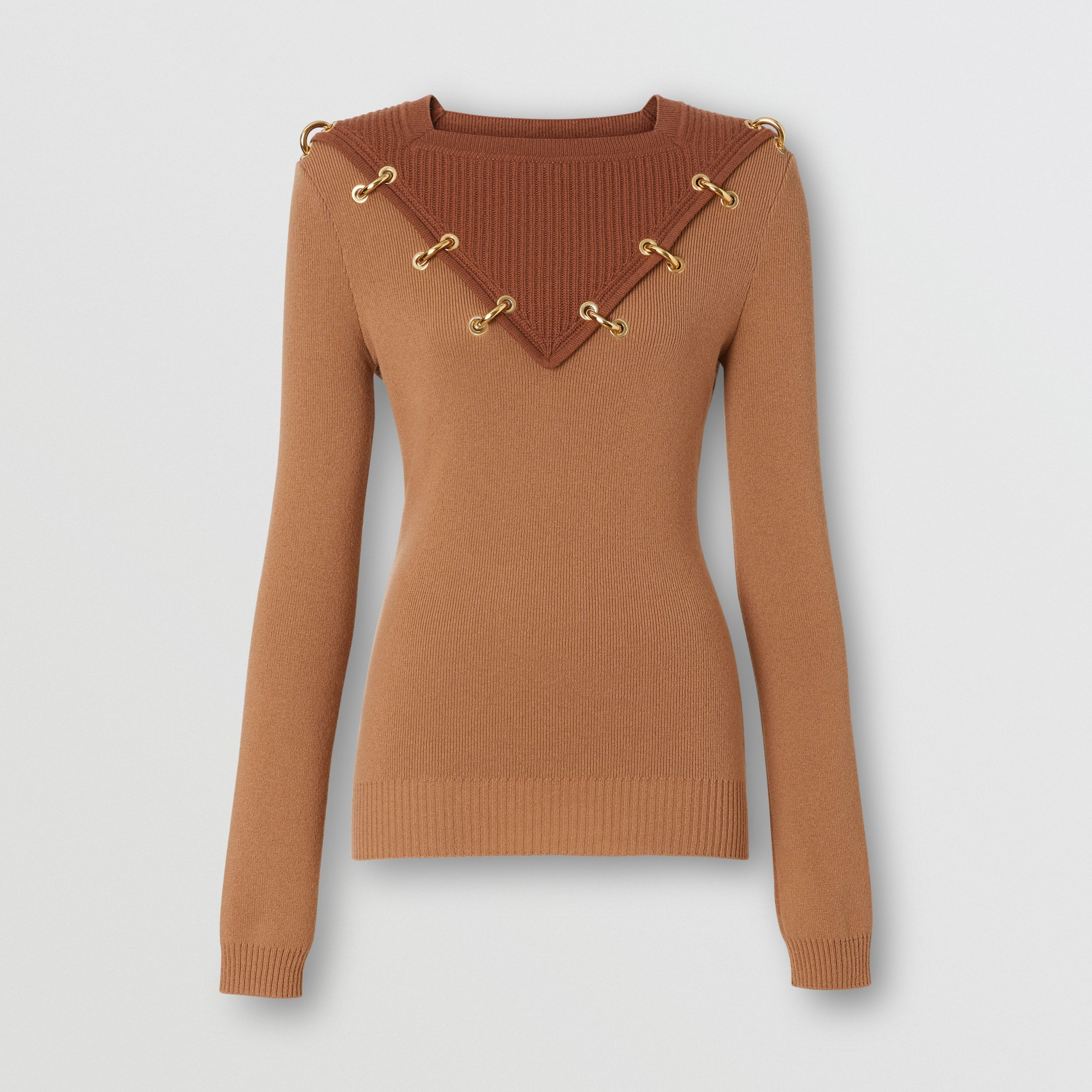 Ring-pierced Two-tone Wool Cashmere Sweater in Warm Camel - Women | Burberry - 4