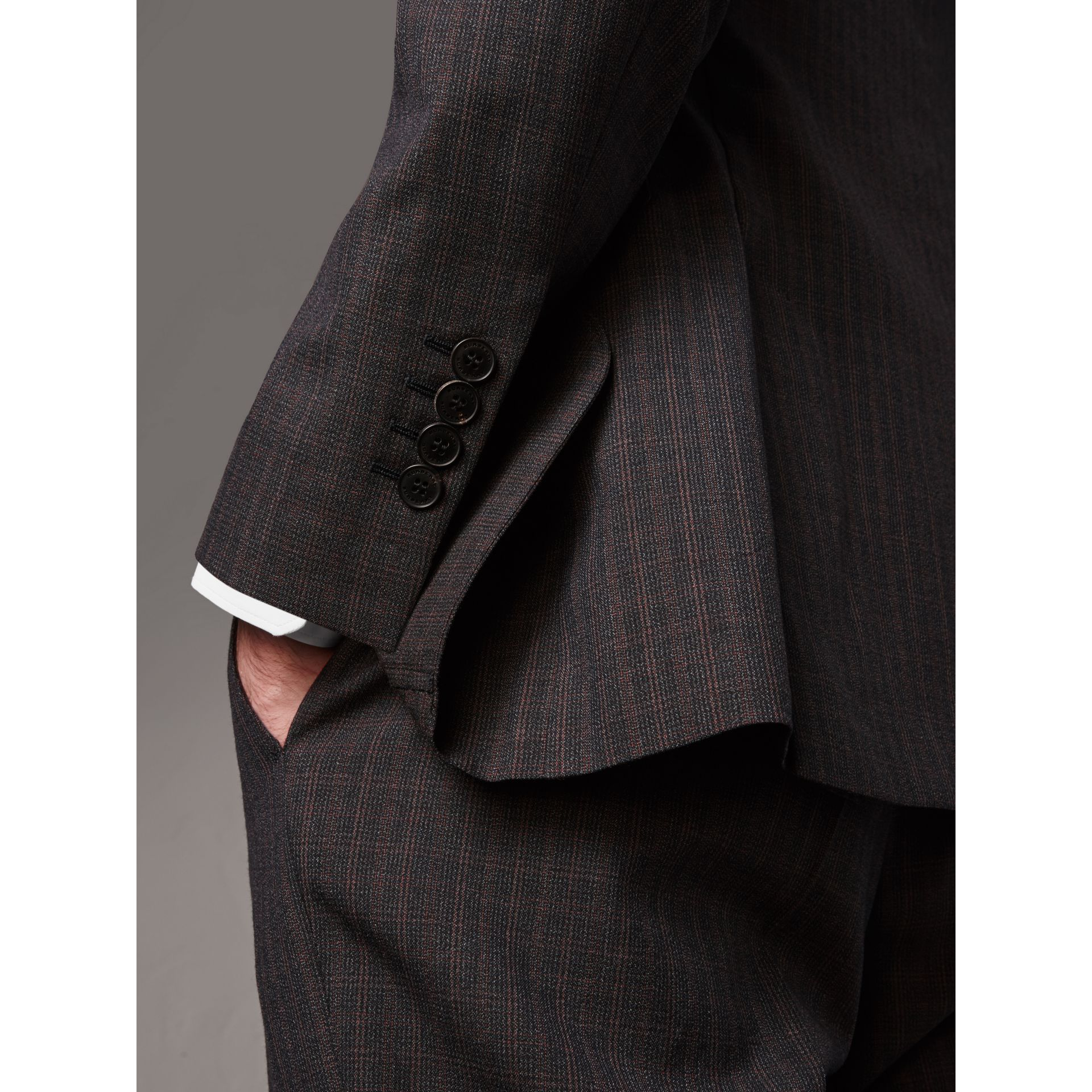 Soho Fit Check Wool Suit in Blackcurrant - Men | Burberry - gallery image 4