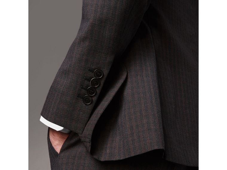 Soho Fit Check Wool Suit in Blackcurrant - Men | Burberry - cell image 4