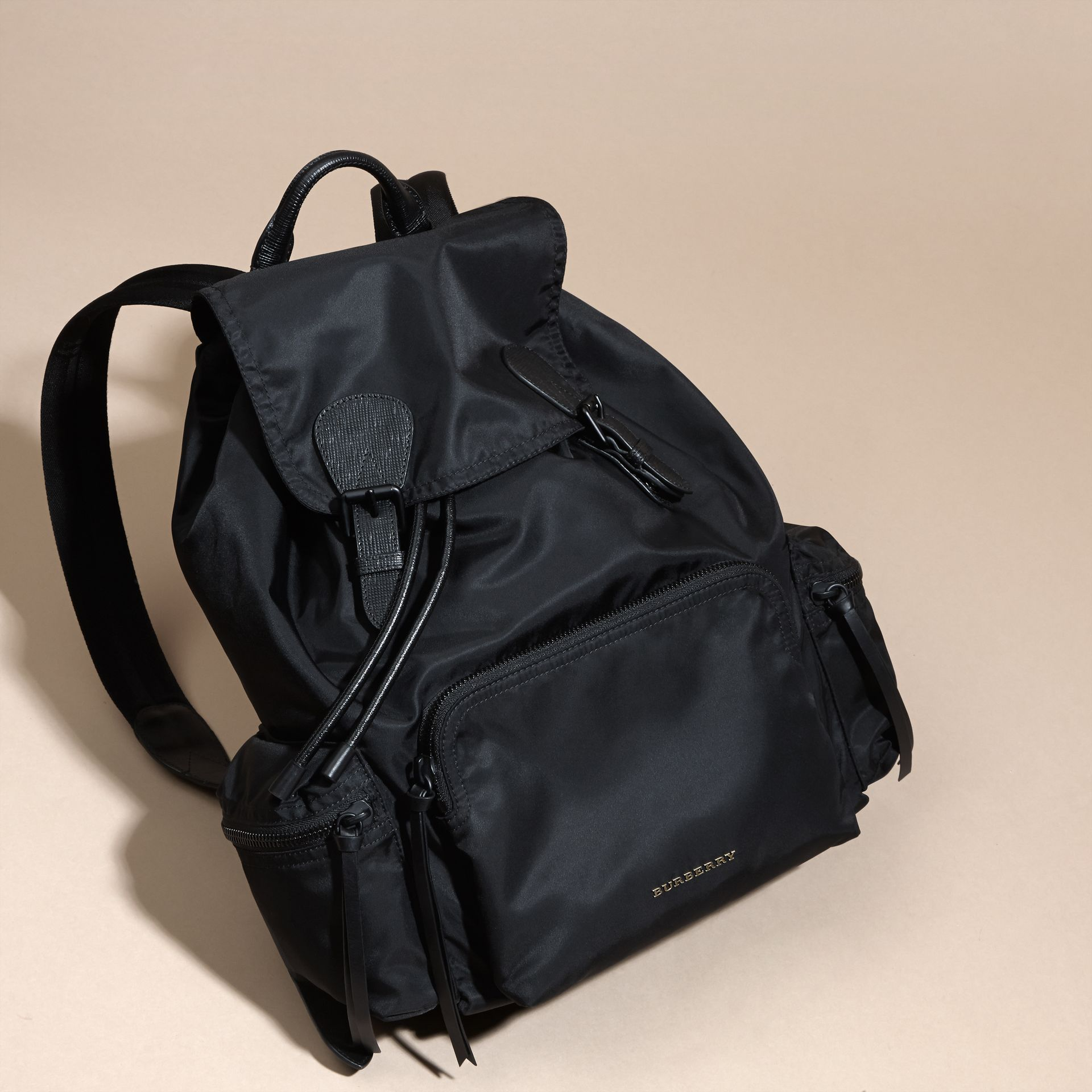 The Large Rucksack in Technical Nylon and Leather in Black - gallery image 8