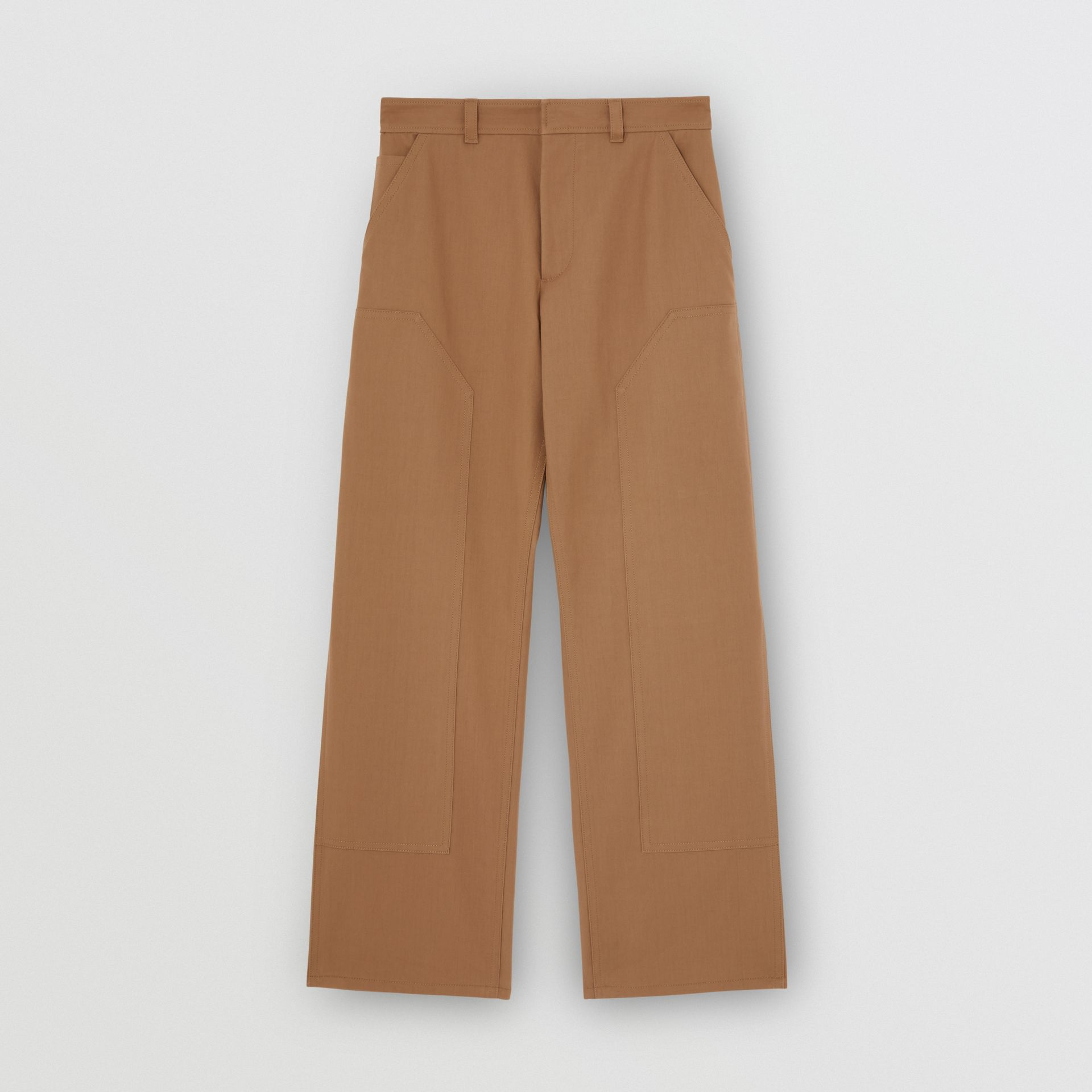 Cotton Twill Tailored Trousers in Warm Walnut | Burberry United Kingdom - gallery image 3