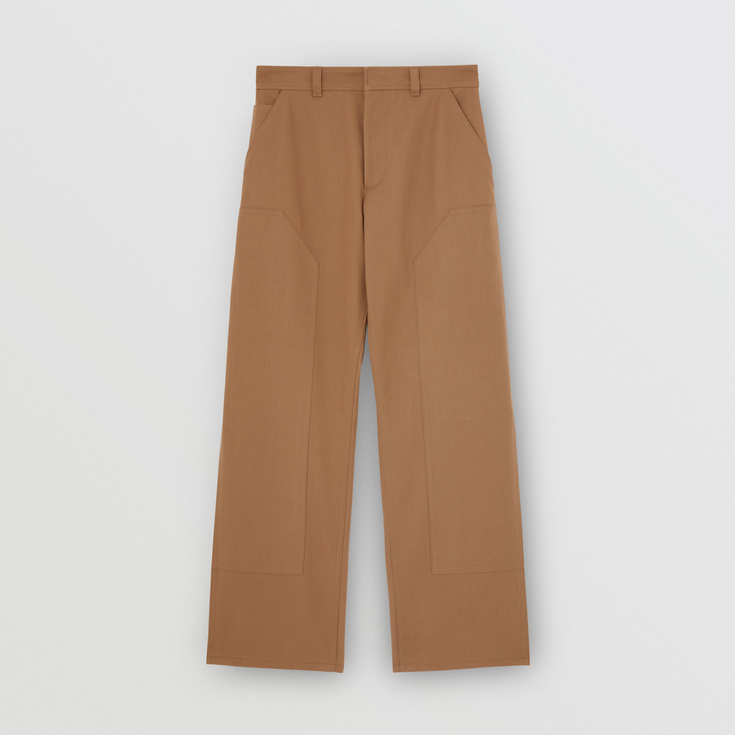 Cotton Twill Tailored Trousers in Warm Walnut - Men | Burberry - 4