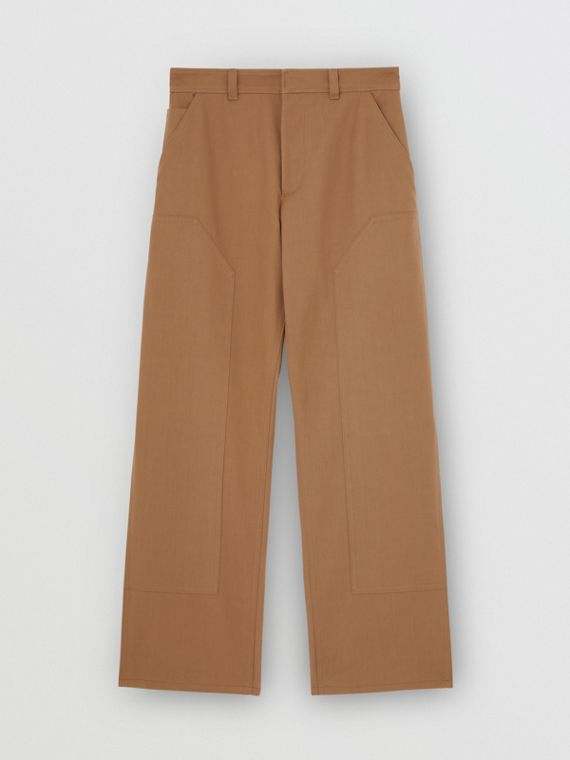 Cotton Twill Tailored Trousers in Warm Walnut