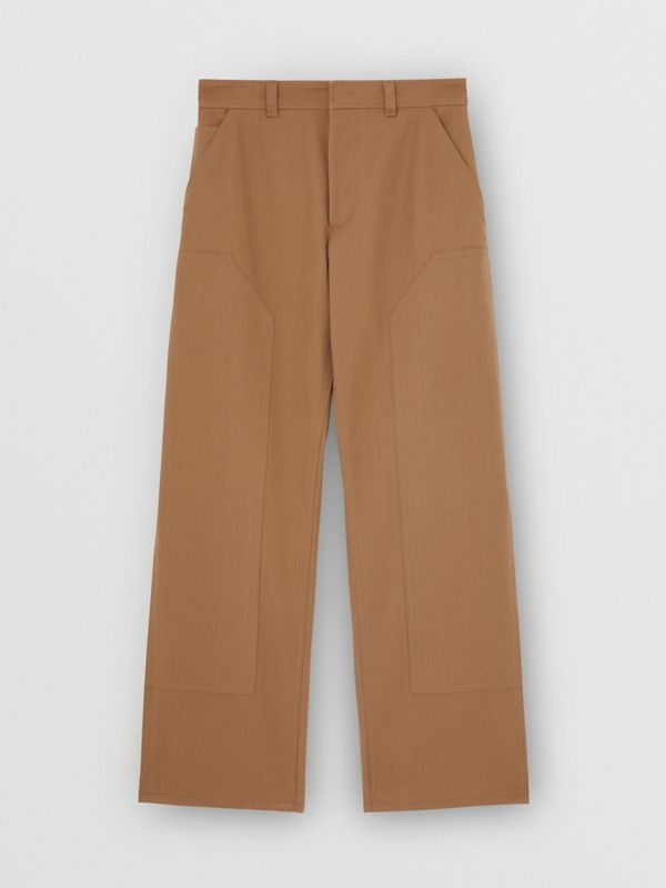 Cotton Twill Tailored Trousers in Warm Walnut | Burberry United Kingdom - cell image 3