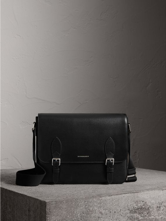 Medium London Leather Messenger Bag in Black - Men | Burberry Australia