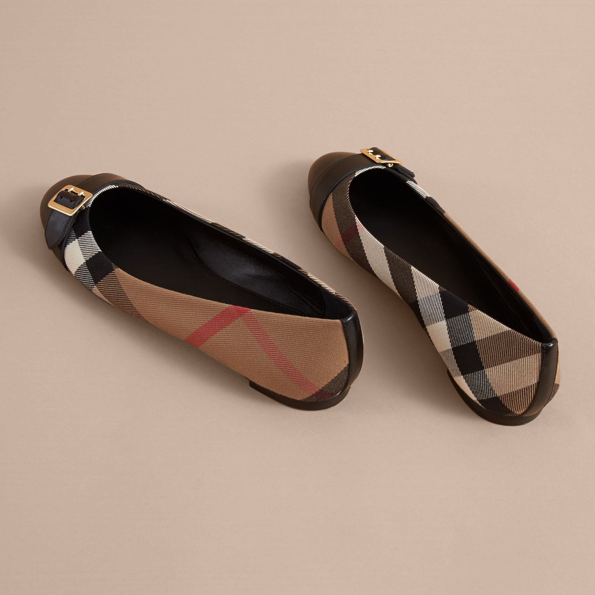 Buckle Detail House Check and Leather Ballerinas - Women | Burberry - gallery image 4
