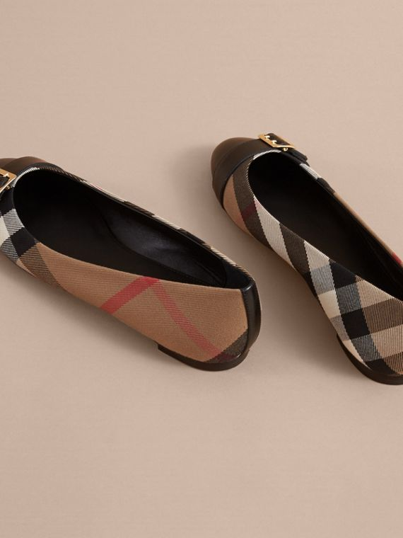 Buckle Detail House Check and Leather Ballerinas in Black - Women | Burberry - cell image 3