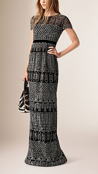 Floor-Length Embroidered Mesh Dress
