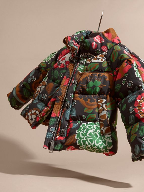 Sage green Floral Print Puffer Coat with Packaway Hood - cell image 2