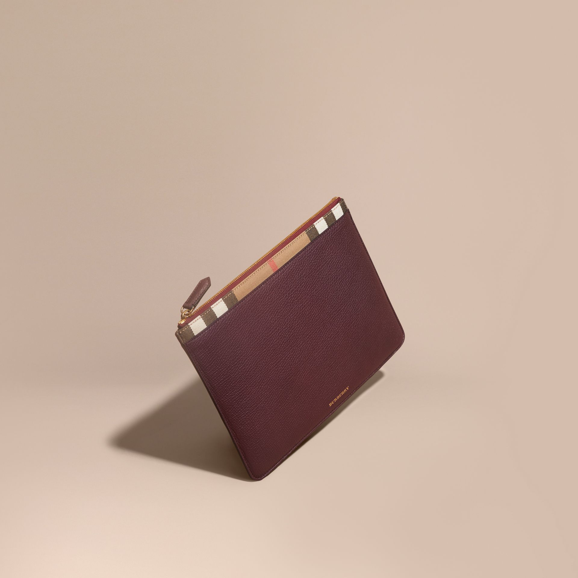 Zipped Grainy Leather and House Check Pouch Wine - gallery image 1