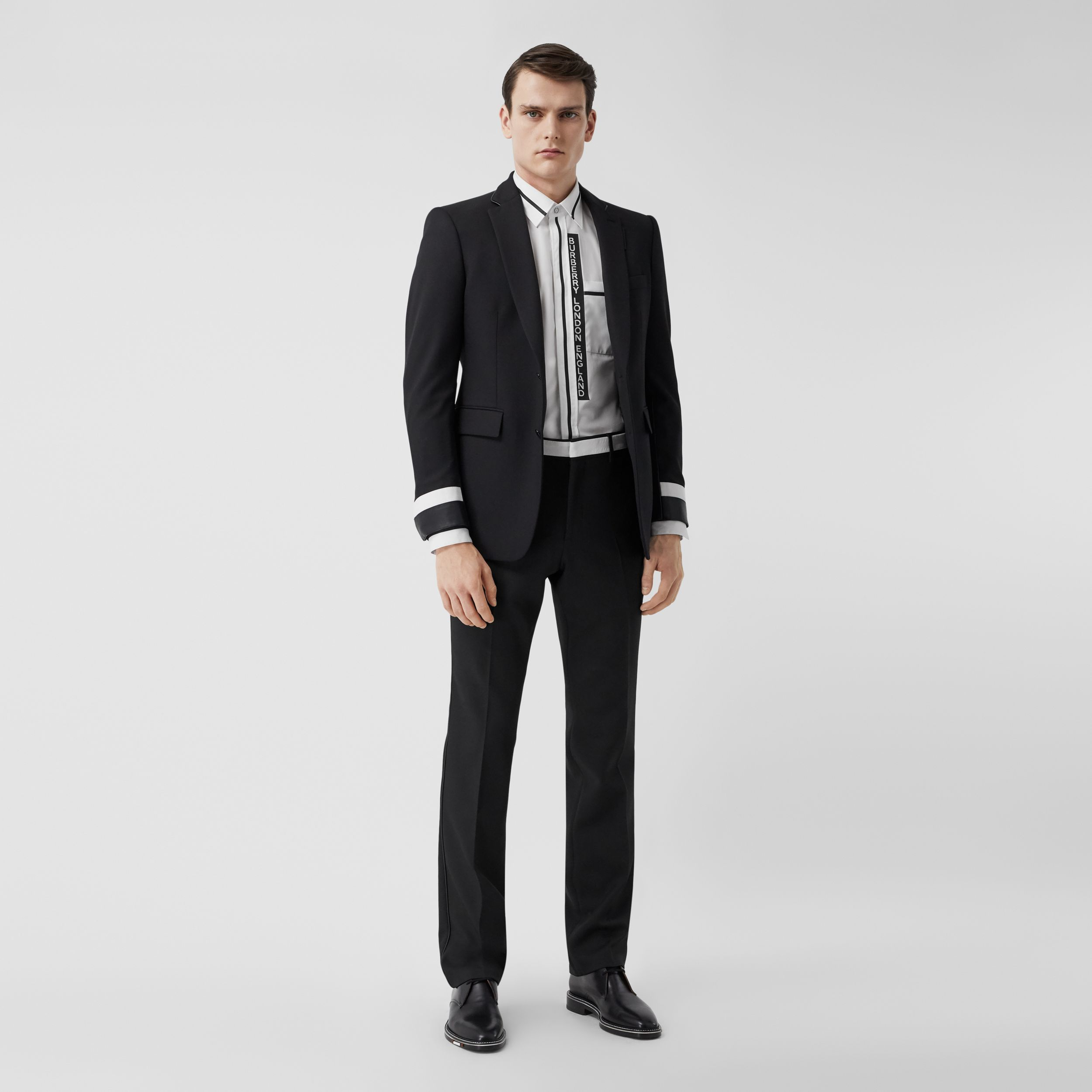 Classic Fit Lambskin Detail Wool Tailored Trousers in Black - Men | Burberry - 1