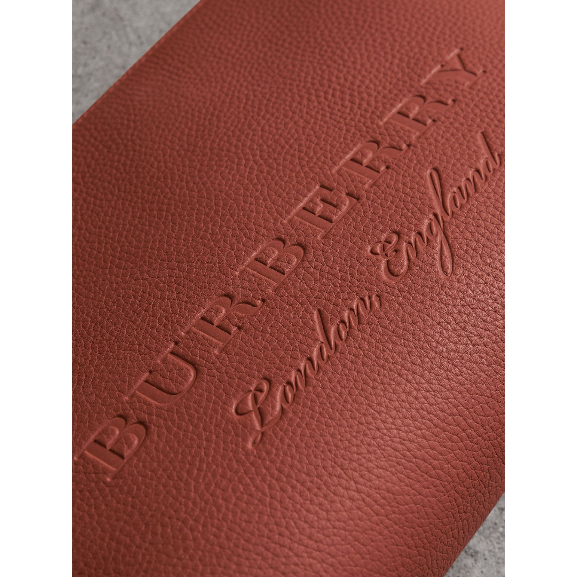 Large Embossed Leather Zip Pouch in Chestnut Brown - Men | Burberry - gallery image 1