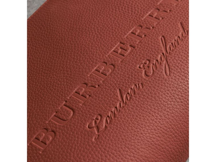 Large Embossed Leather Zip Pouch in Chestnut Brown | Burberry - cell image 1