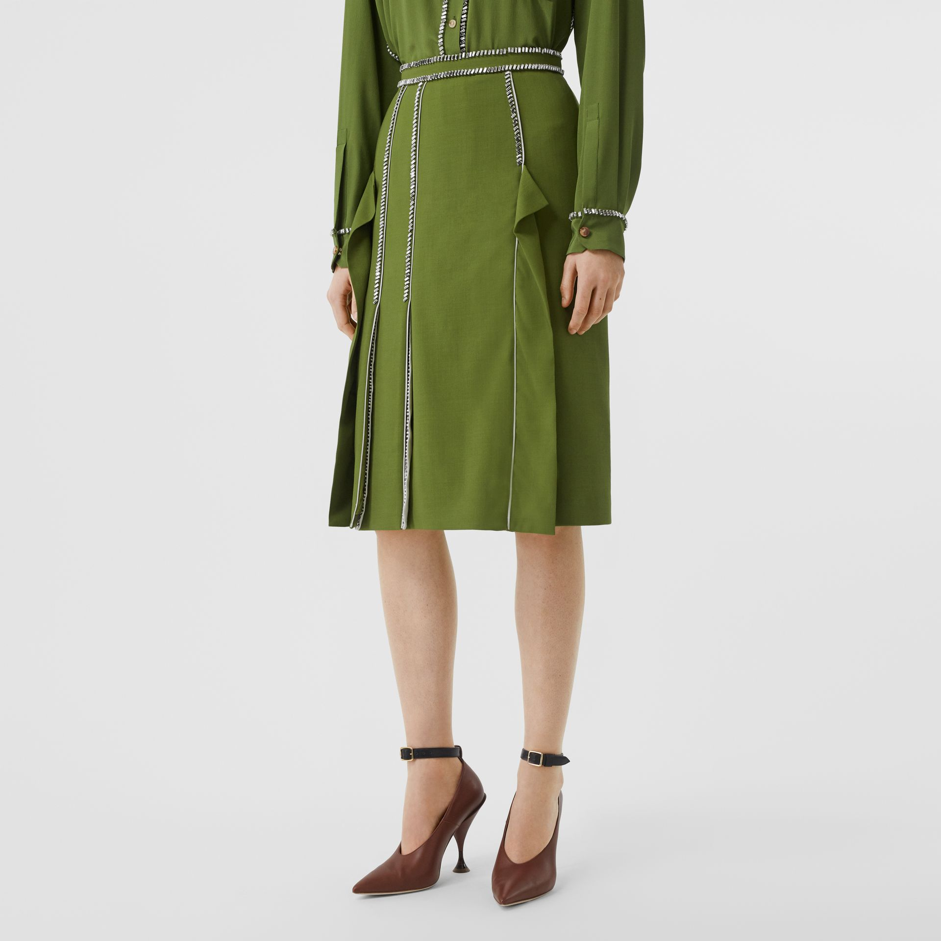 Crystal Detail Panelled Wool Crepe A-line Skirt in Cedar Green - Women | Burberry United States - gallery image 4