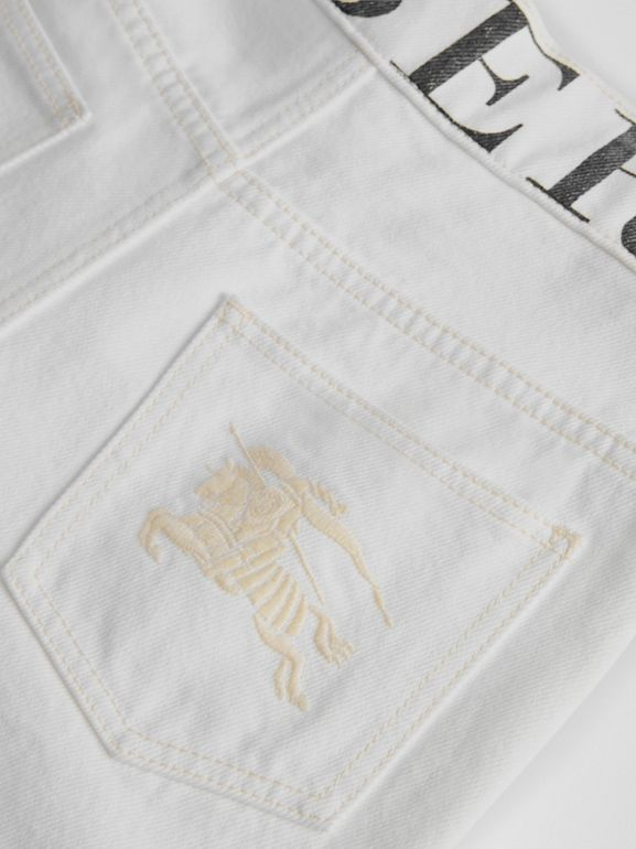 Relaxed Fit Logo Print Jeans in Natural White - Children | Burberry - cell image 1