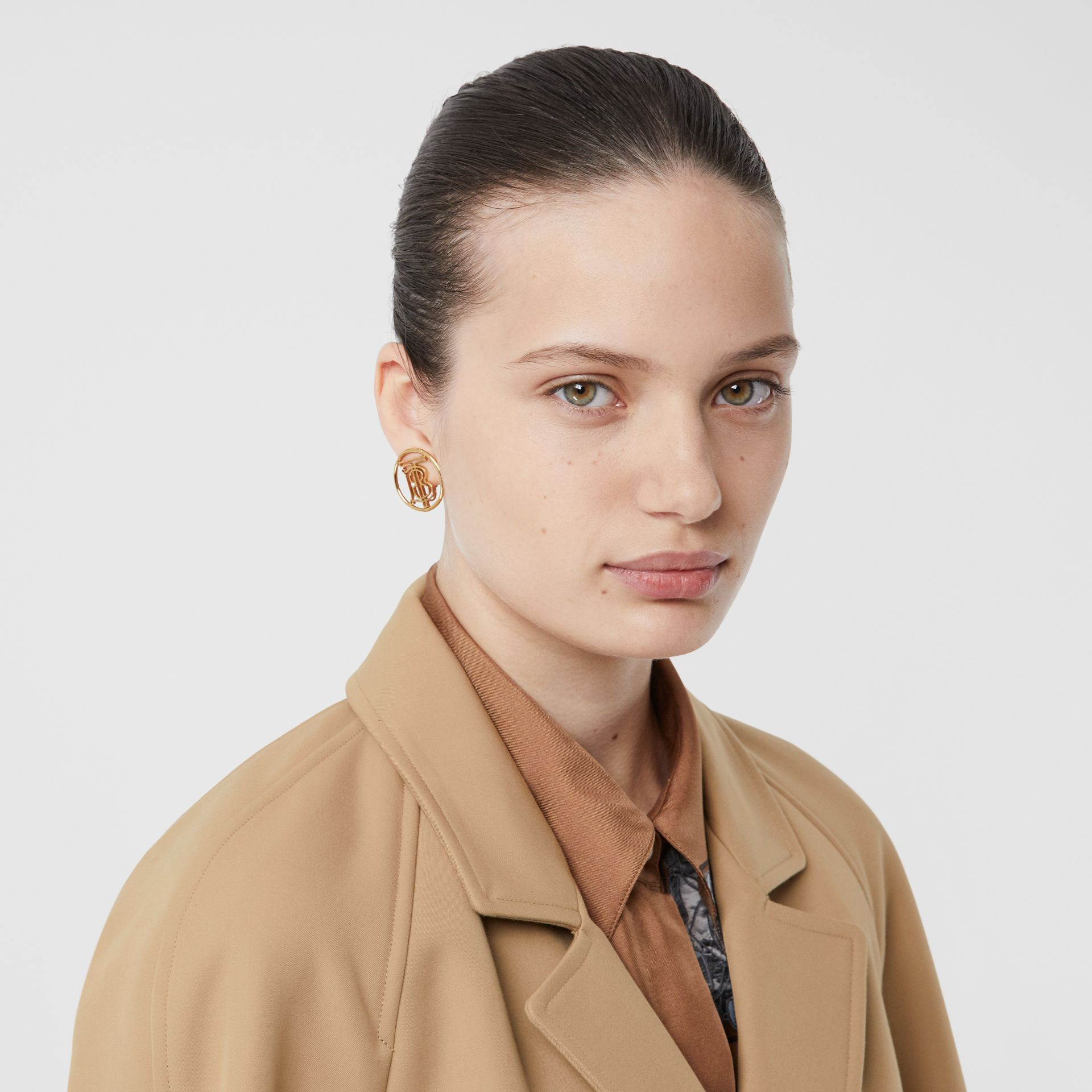 Leather Trim Bonded Cotton Lab Coat in Biscuit - Women | Burberry - gallery image 1