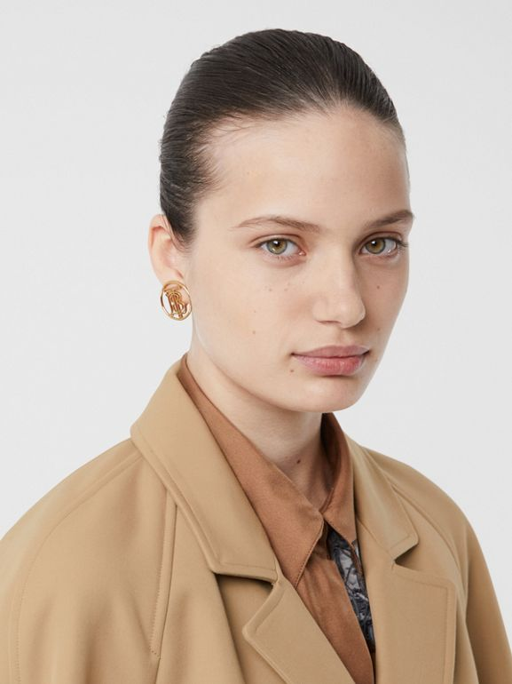 Leather Trim Bonded Cotton Lab Coat in Biscuit - Women | Burberry - cell image 1
