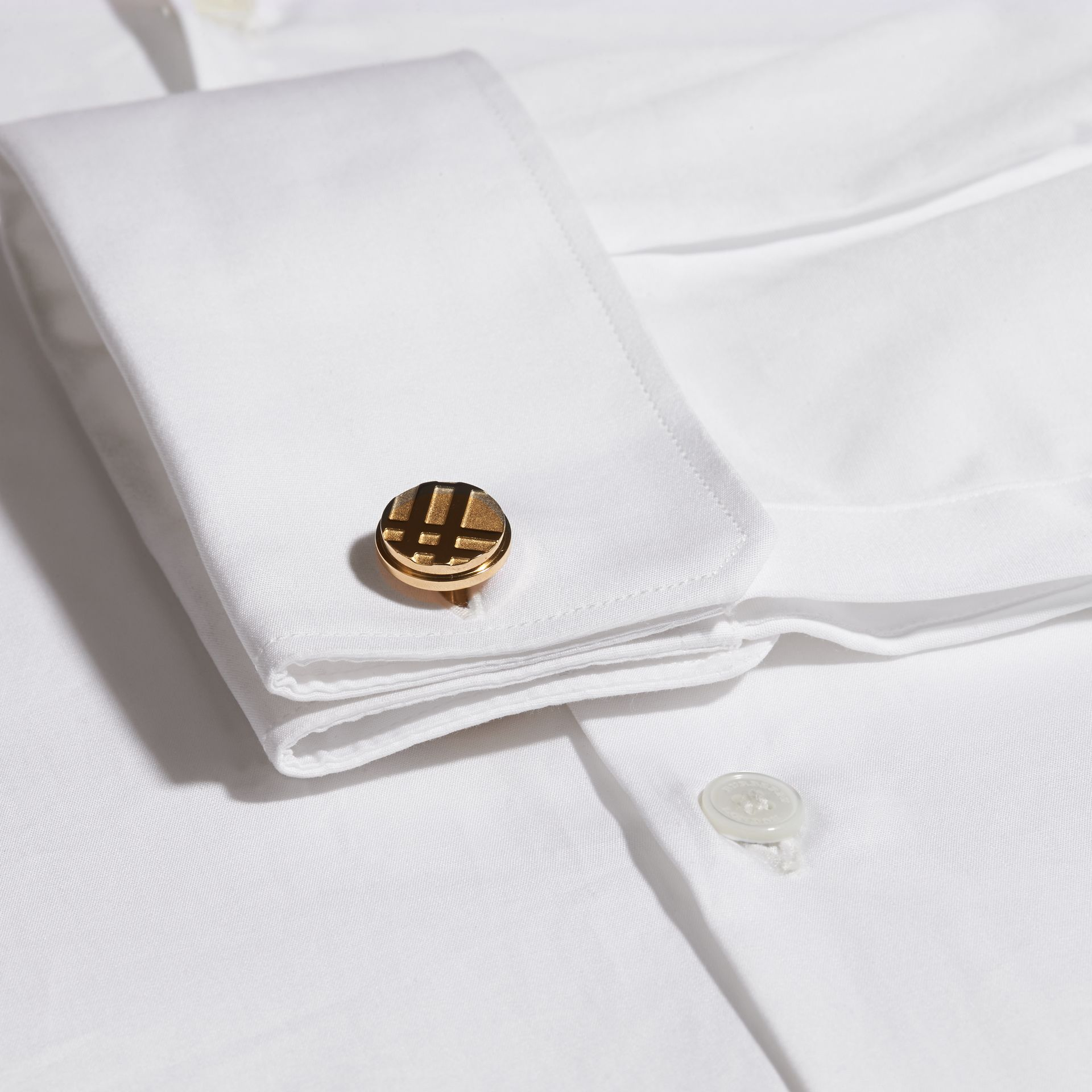 Check-engraved Round Cufflinks in Pale Gold - Men | Burberry Canada - gallery image 2