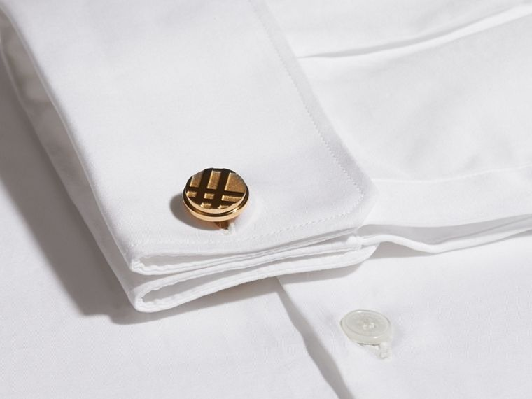 Check-engraved Round Cufflinks in Pale Gold - Men | Burberry - cell image 1