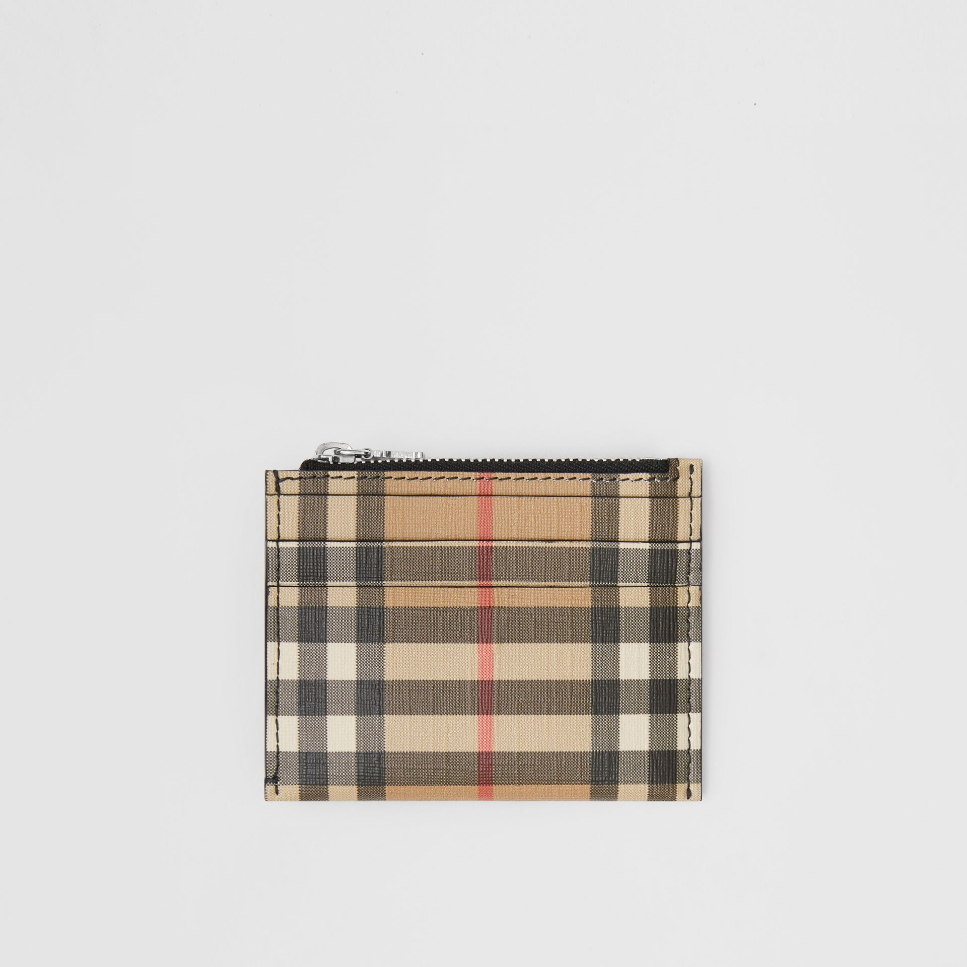 Vintage Check and Leather Zip Card Case in Black - Women | Burberry Australia - gallery image 0