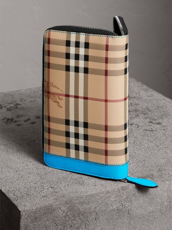 Haymarket Check and Leather Ziparound Wallet in Bright Blue - Men | Burberry - cell image 2