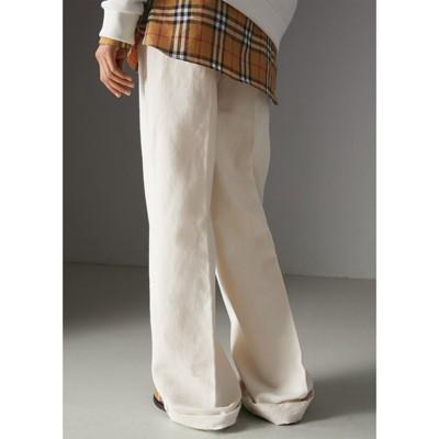 Cotton Linen Canvas Wide-leg Trousers - White Burberry y1moR5QyF