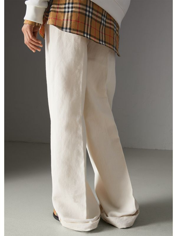 Cotton Linen Canvas Wide-leg Trousers in Off White - Women | Burberry - cell image 2